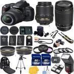 ライカ Nikon D3000 DSLR Camera Bundle with 18-55mm VR+70-300mm G+64GB Memory+Tele+EXTRA カメラ レンズ