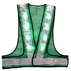 LED安全ベスト 超高輝度緑色LEDベスト LED安全チョッキ グリーンメッシュ/白銀色テープ LED-GW-G 寒冷地対応反射テープ使用