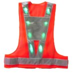 LED安全ベスト 超高輝度緑色LEDベスト 背中台形反射シート付きLED安全チョッキ オレンジメッシュ/白銀色テープ LED-OW-G(T) 寒冷地対応反射テープ使用