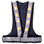 LED安全ベスト 超高輝度黄色LEDベスト LED安全チョッキ 紺色メッシュ/白銀色テープ LED-BW-Y 寒冷地対応反射テープ使用