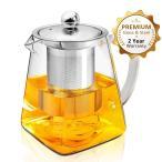 ティーポット 紅茶ポット 耐熱ガラス ガラスティーポット 304ステンレス鋼茶こし付き 750ml 急須 ガラス 緑茶ポット 直火用 ティーウォーマー