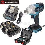 heimerdinger インパクトレンチ マキタ電池使用可能 本体+4.0Ah電池x2個+充電器+ケース ブラシレス バッテリー充電式