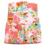 モスリン 一つ身着物 -9- 女の子 初着 祝着 一つ身 友禅 着物 出産祝い 日本製 羊毛 1歳 ピンク 花柄