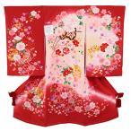 宮参り着物 -45- 正絹 祝着 お宮参り 着物 女の子 初着 百日祝い シルク100% 日本製 赤 花柄 刺繍