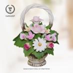 ショッピングイタリア ナポレオン社 イタリア製 陶花 ディジーとバラのバスケット
