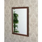 シンプルなデザインと古木風仕上げの温かみのある木製額のミラー 古材 イタリア お洒落 壁掛け ウォール インテリア ブラウン カントリー シンプル ヨーロピアン