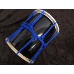 三島屋楽器店 オリジナル桶胴太鼓 8寸 (直径約24.5cm) ブルー 吊りバンド+バチセット 【担ぎ桶胴太鼓 おけどうだいこ】