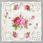 薔薇柄四角ケーキ皿 ラレーヌデローズ 薔薇柄食器 キッチン雑貨