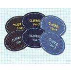 刺繍お名前入れパッチ 楕円型(枠:水色・青色) 入園 入学 男の子 女の子 シンプル かわいい 名入れ