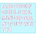 刺繍アルファベットワッペン ラメ入り ピンク