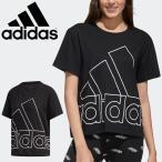 半袖 Tシャツ レディース/アディダス adidas W FAVOURITES ビッグロゴTシャツ/スポーツウェア プリントT 女性 ブラック 半袖シャツ 家トレ14639-GK3330