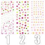 ウォーターネイルシール 花柄 選べる13種類 極薄・重ね貼りOK