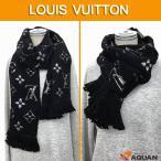 ルイヴィトン LOUIS VUITTON エシャルプ・ロゴマニアシャイン M75833 マフラー メンズ レディース 男女兼用 ウール×シルク ブラック 送料無料
