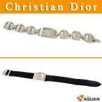 Christian Dior クリスチャンディオール マリス レディース 腕時計 時計 替えベルト レザー×SS ブラック×シルバー 送料込み