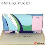 EMILIO PUCCI エミリオプッチ 長財布 財布 プッチ柄 PVC×レザー ブルー×パープル系