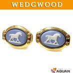 WEDGWOOD ウェッジウッド カフス カフリンクス 馬 ストーン 真鍮×陶器 ゴールド×ブルー