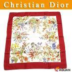 Christian Dior クリスチャンディオール ディオール スカーフ フラワー ベリー 小鳥 シルク ホワイト×レッド