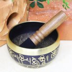 シンギングボール チベット仏教 法具 八吉祥 木製革巻きリン棒(Sサイズ)付き 癒し ヒーリング