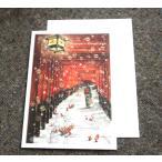 日本の風景のクリスマスカード「京都伏見稲荷神社の鳥居とサンタクロース」【メール便可】