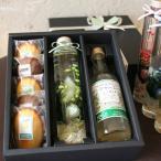 「ハーバリウム・スイーツギフトBOX・グリーン」標本風お花のアレンジとジュースと焼き菓子のギフト(ジンジャーエール&柑橘・チョコマドレーヌ)母の日