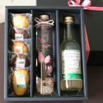 「ハーバリウム・スイーツギフトBOX・ピンク」標本風お花のアレンジとジュースと焼き菓子のギフト(ジンジャーエール&柑橘・チョコマドレーヌ)母の日