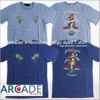 インディゴ染め 刺繍 ハワイアン アメカジ 半袖 Tシャツ セール