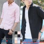雅虎商城 - 麻 リネンシャツ カジュアルシャツ メンズ 綿麻 7分袖 総柄 無地 白シャツ トップス メンズファッション