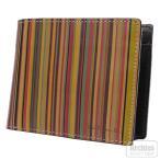 ポールスミス Paul Smith 2折財布 二つ折り 二つ折財布 メンズ ヴィンテージ マルチ ストライプ 内側 ブラウン 茶色 PSY354-70 S60174-75