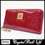クリスタルボール Crystal Ball 赤ヒッピーモノグラムラウンドジップ長財布(訳あり) レディース S41766