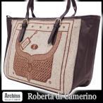 ロベルタRoberta di Camerino ベージュツィードトロンプルイユ柄ハンドトートバッグ レディース S45306