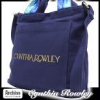 シンシアローリー Cynthia Rowley ネイビーキャンバスにゴールドラメロゴ2WAYジップトートバッグ レディース・婦人 S49022