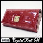 クリスタルボール Crystal Ball レッドエナメルに内側シャンパンピンクヒッピーモノグラム長財布 レディース S50823
