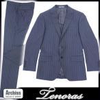 ティノラス TENORAS ブルー系オルタネイトストライプ背抜き3ピーススーツ Mサイズ・Lサイズ S51118-21