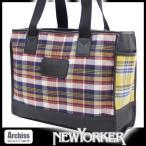 ニューヨーカー NEWYOKER 赤茶ネイビー系チェックにイエローとブルーチェックコンビトートバッグ メンズ(NYM372-71)S51533-35