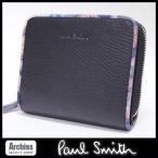 ポールスミス Paul Smith 黒に花柄プリントフレームラウンドジップ2折財布 レディース(PWU472-10)S52258