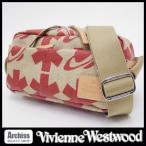 ヴィヴィアンウエストウッドVivienne Westwood ベージュに赤アスタリスクとオーブ柄麻生地ショルダーバッグ メンズ(男女兼用) S52306