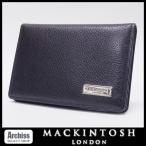 マッキントッシュロンドン MACKINTOSH LONDON 黒シュリンクレザーロゴプレート付き2折カードケース・名刺入れ メンズ S52905