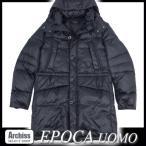 エポカ EPOCA UOMO 黒半光沢生地着脱フード付き軽量ダウンコート 46サイズ S52946