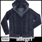 アレグリ allegri 黒とグレーミックスフード付き重ね着風ニットブルゾン(訳あり) L相当(表記なし)S52950