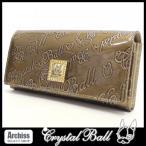 クリスタルボール Crystal Ball カーキエンボスヒッピーロゴエナメル長財布 レディース S53496