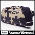 ヴィヴィアンウエストウッドVivienne Westwood ベージュにブラックアスタリスクとオーブ柄麻生地ショルダーバッグ メンズ(男女兼用) S53543