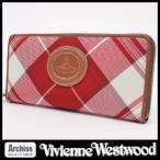 ショッピングウエストウッド ヴィヴィアンウエストウッド Vivienne Westwood レディース 長財布 ラウンドジップ ラウンドファスナー 赤系 チェック オーブ 訳あり 3118S822-RD S54875
