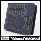 ショッピングウエストウッド ヴィヴィアンウエストウッドVivienne Westwood 2折財布 メンズ ネイビー グレー TAGS タイルプリント柄 PVCコーティング VWK083-30 S58937