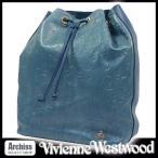 ヴィヴィアンウエストウッド Vivienne Westwood リュック バッグ レディース ブルー系 レザー 凹凸模様柄 ケンジントンパレス 巾着型 41494312-BL S57638