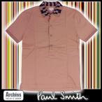 ポールスミス Paul Smith ポロシャツ メンズ オレンジベージュ 襟黒 ブロック柄 Sサイズ 訳あり PM-GT-41301 S59437
