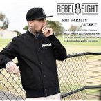 【Rebel8】 VIII VARSITY JACKET  BLACK ヴァーシティ ジャケット ブラック 黒 【レベルエイト】