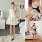 送料無料 ノースリーブ リボン フレア ミニドレス ワンピース 白 黒 花柄 ミニワンピース パーティー 結婚式 二次会 お嬢様ドレス