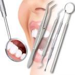 ゆうメール 送料無料 スケーラー2本 歯鏡 ピンセット 4点セット お家で手軽に歯石取り