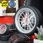タイヤ型 壁掛け時計 アラームクロック ホイール&タイヤ 置時計 目覚まし時計 LEDライトイルミネーション