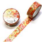 Kimono美 四季華桜 マスキングテープ 15mm / 和風 和柄 友禅 箔押し 着物  桜 日本製